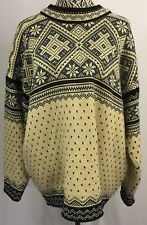 DALE OF NORWAY Nice Vtg Cream Slate Blue Pure Wool Norwegian Sweater Men's XL