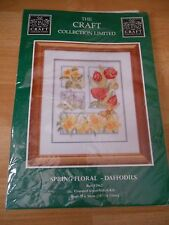 Craft Collection Large Cross Stitch Kit Spring Florals Daffodils 83962 10.5x13""