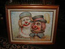 Superb W. Moninet Oil Painting On Canvas Of 2 Clowns-Framed-Great Details-LQQK