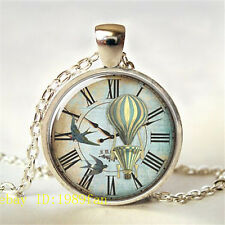 New Vintage Bird Clock Photo Tibetan silver Glass Chain Pendant Necklace.#