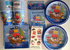 PIRATE SHIP Birthday Party Supply Kit w/Invitations & Temperary Tattoos