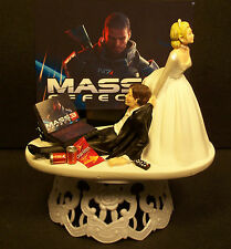 VIDEO GAME Bride & Groom WEDDING CAKE TOPPER Funny HeadPhones Laptop Chip #1