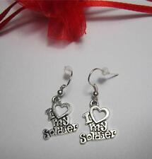 I love my soldier earrings pretty gift valentines day army wife girlfriend mum