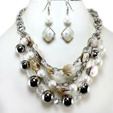 Natural Silver Abalone Shell Ball Bead Layered Multi Chain Necklace Set Acrylic