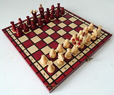 BRAND NEW POLISH ROYAL WOODEN CHESS SET 31cm / 12 inches BORDEAUX RED