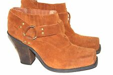 Jeffrey Campbell Ibiza Brown Leather Suede Square Toe Slip On Shoes Sz 10 $185