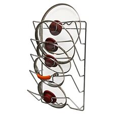 Kitchen Storage Organizer Wall Mounted Pot Pan Lid Rack Chrome Cabinet Holder RV