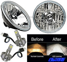 "Jeep Wrangler 7"" Crystal Headlight CREE SMD 360° LED Light Bulb H4 Headlamp Pair"