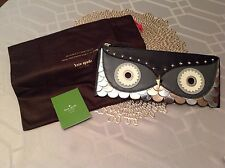 NWT Kate Spade Wise Owl Large Leather Zipped Clutch Evening Christmas Gift