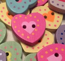 10 PASTEL HEARTS 18mm WOODEN BUTTONS FOR SEWING KNITTING CRAFT AND SCRAP BOOKING