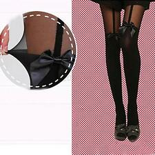 Ladies Stockings Fashion Tattoo Mock Bow Suspender Sheer Tights Black Pantyhose