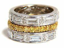 2.86ct natural fancy yellow diamonds & baguette eternity ring stackable platinum