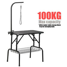 """32"""" Large Portable Pet Dog Cat Grooming Table Dog Show W/Arm&Noose & Mesh Tray"""