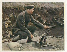 German Soldier mortar mortier War Deutsches Heer WWI WELTKRIEG 14/18 CHROMO