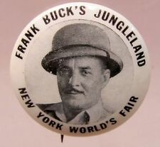 rare version 1939 FRANK BUCK'S JUNGLELAND NEW YORK WORLD'S FAIR pinback button