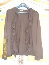 Laura Ashley Brown 100% Soft Merino Wool Cardigan size 12 Floaty Hippy Boho