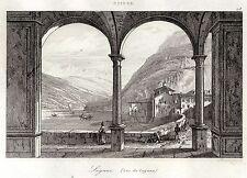 LUGANO E IL LAGO CERESIO. Canton Ticino. Lombardia. ACCIAIO. Stampa Antica. 1838