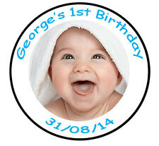 PERSONALISED PHOTO 1ST BIRTHDAY CAKE TOPPER EDIBLE ICING DECORATION CUPCAKE VEX