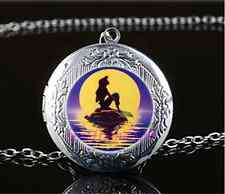 Mermaid Photo Cabochon Glass Tibet Silver Chain Locket Pendant Necklace#E9