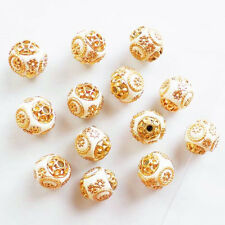 10pcs Beautiful White Rare Earth & Plated-Gold Spacer Beads QSAM1432