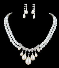 Sweet Wedding Jewellery Set White Pearl & Crystal Chain Necklace Earrings