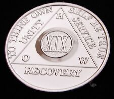 Alcoholics Anonymous Nickel Plated 19 Year HOW OLD STYLE Medallion Chip Coin