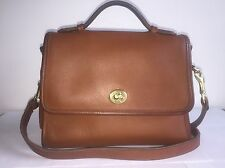 Coach Vintage Authentic British Tan Leather Court Top Handle Crossbody Messenger