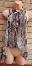 TOPSHOP SNAKE SKIN BUTTONED BAGGY VTG   BLOUSE TOP T SHIRT VEST TUNIC CAMI 6