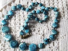 Vintage 1950s speckled turquoise glass necklace