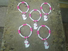 DISNEY MARIE  CAT PINK/WHITE FIVE BRACELETS WITH CHARMS.