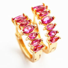 Adiz Collections 18K Gold Plated Pink Ruby Hoop Earrings