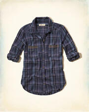 NWT HOLLISTER by ABERCROMBIE WOMEN'S Studded Pocket Plaid Shirt SIZE MEDIUM