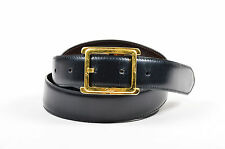 MEN'S Cartier Black Brown Leather Reversible Gold Tone Buckle Belt