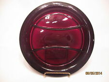 """Vintage Ruby Red Glass 10 1/2"""" Rimmed Divided Relish Plate Tray"""