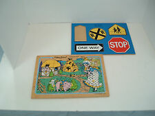 vintage wooden puzzles  fisher price little bo peep connor toy traffic signs