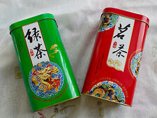 2 CHINESE RED GREEN DRAGON L STORAGE CANISTER TIN CADDY TEA BOX STORAGE PARTY