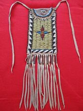 NORTHERN PLAINS BEADED LEATHER TOBACCO, STRIKE-A-LITE, MEDICINE BAG,  BUF-00498