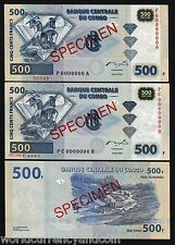 CONGO ZAIRE 500 FRANCS P96 2002 SPECIMEN PA or PH 1 PCS UNC DIAMOND MONEY NOTE