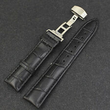 Wrist Watch Band Leather Stainless Steel Butterfly Clasp Buckle Strap 18-24mm