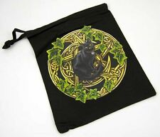 "**BEAUTIFUL LARGE ""PENTAGRAM & BLACK CAT"" TAROT BAG 20cm x 24cm - LISA PARKER**"