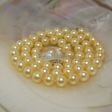 Genuine Akoya Saltwater Gold pearl necklace Solid 14k Gold string 17 inches