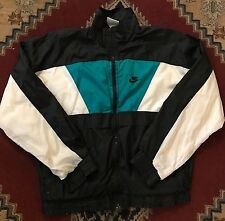 Gray Tag Vtg Nike Windbreaker Jacket Mens Size XL Green Aqua White Black