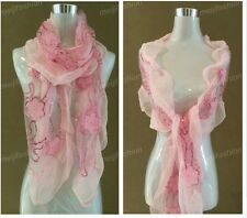 Bling Bead Pink Flower Embroidery Lace Lovely Multi Color Soft Light Scarf