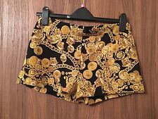 VERSACE BLACK & GOLD CHAIN PRINT SILK  SHORTS SIZE UK 6/IT 1, UK 8/IT 2