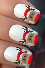 CHRISTMAS NAIL ART SET #756 RUDOLPH REINDEER HAT WATER TRANSFER DECALS STICKERS