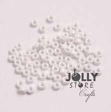 1000 White Opaque 6.5x4mm Mini Barrel Pony Beads Made in the USA