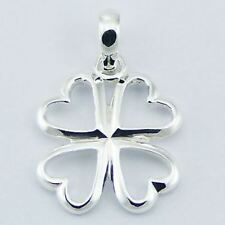 925 Sterling Silver Pendant - Open 4 Leaf Clover / Shamrock 23mm WithOUT Chain
