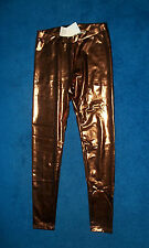 COPPER BRONZE METALLIC SHINY LEGGINGS PANTS DISCO COSTUME ANYTIME WEAR SMALL NWT