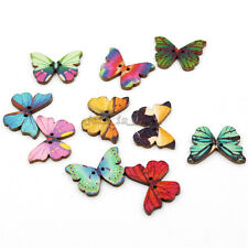 100x Wholesale Multi-Color Butterfly Wooden Sewing Flatback Button Fit Craft JJ