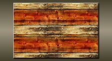 """LARGE ABSTRACT WOOD BLACK GREY ORANGE CANVAS WALL PICTURE FLASH ART 30"""" 20"""" 0450"""